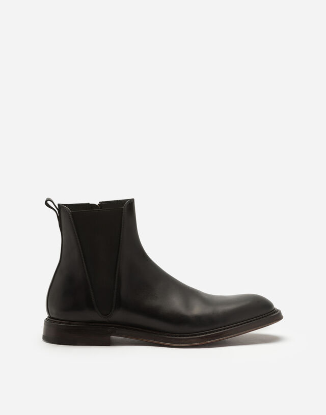 Hand-painted calfskin Chelsea boots in BLACK