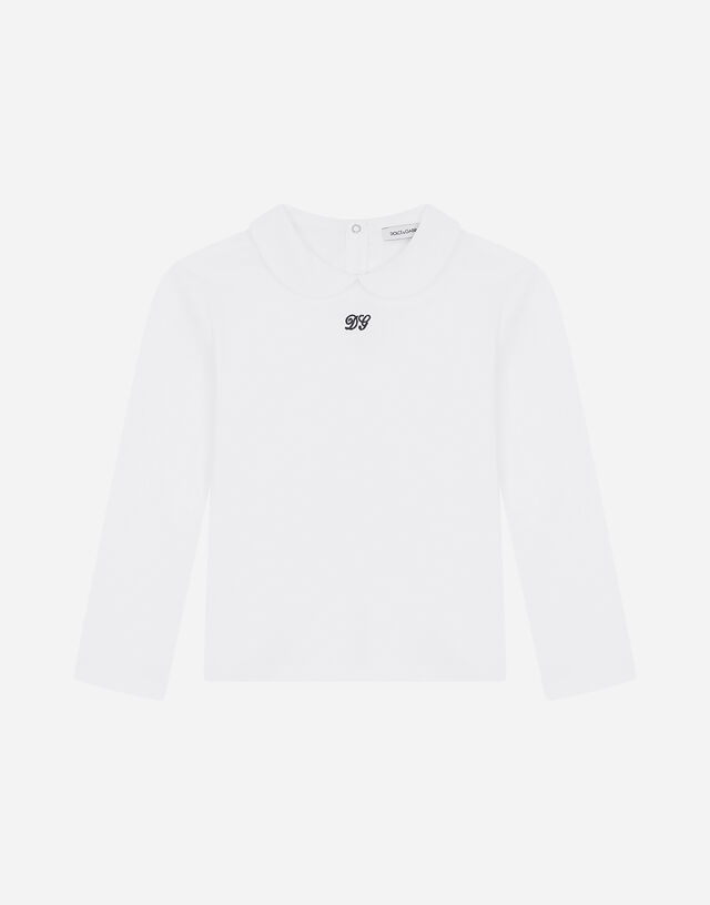 Jersey T-shirt with DG embroidery in White