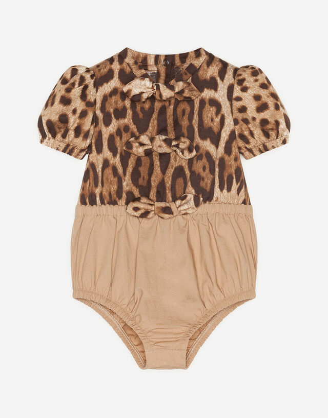 Romper suit in poplin and jersey with leopard print in Multicolor