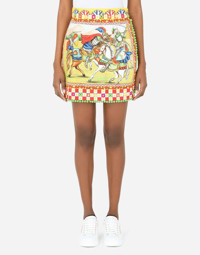 Short Carretto-print poplin skirt in Multicolor