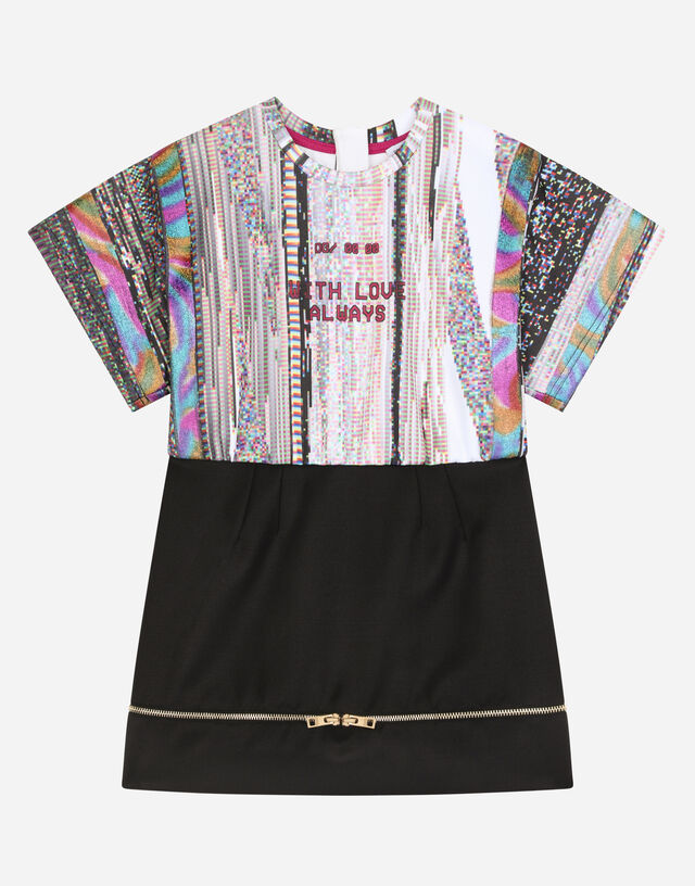 Short technical jersey dress in Multicolor