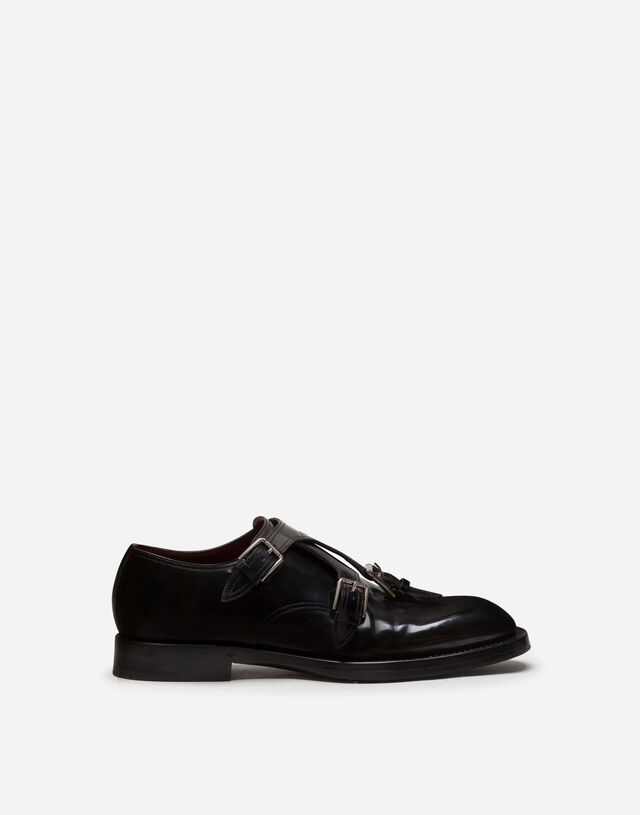 Brushed calfskin monk strap shoes in BLACK