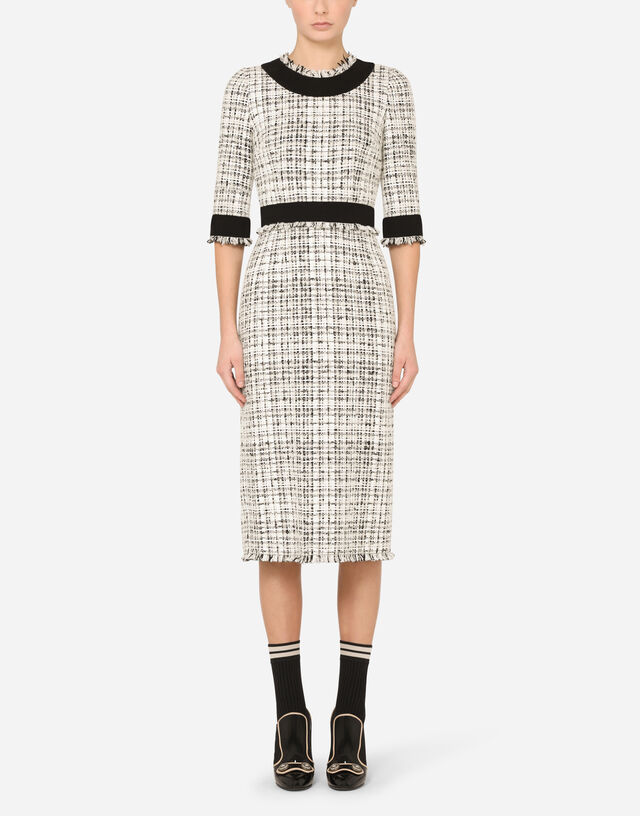 Tweed midi dress in MULTICOLOR