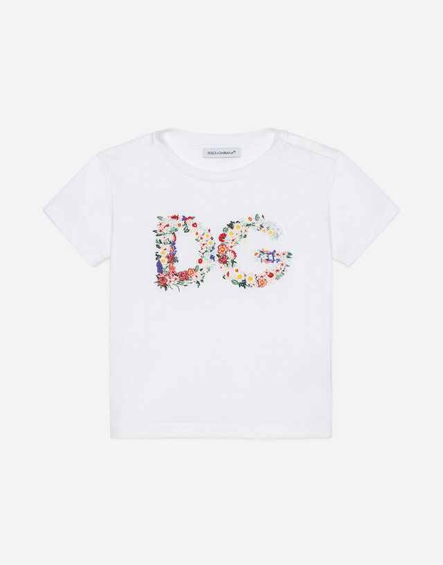 Jersey t-shirt with floral logo embroidery in White